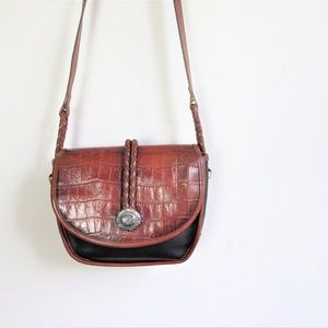 Vintage Brighton croc embossed leather saddle bag